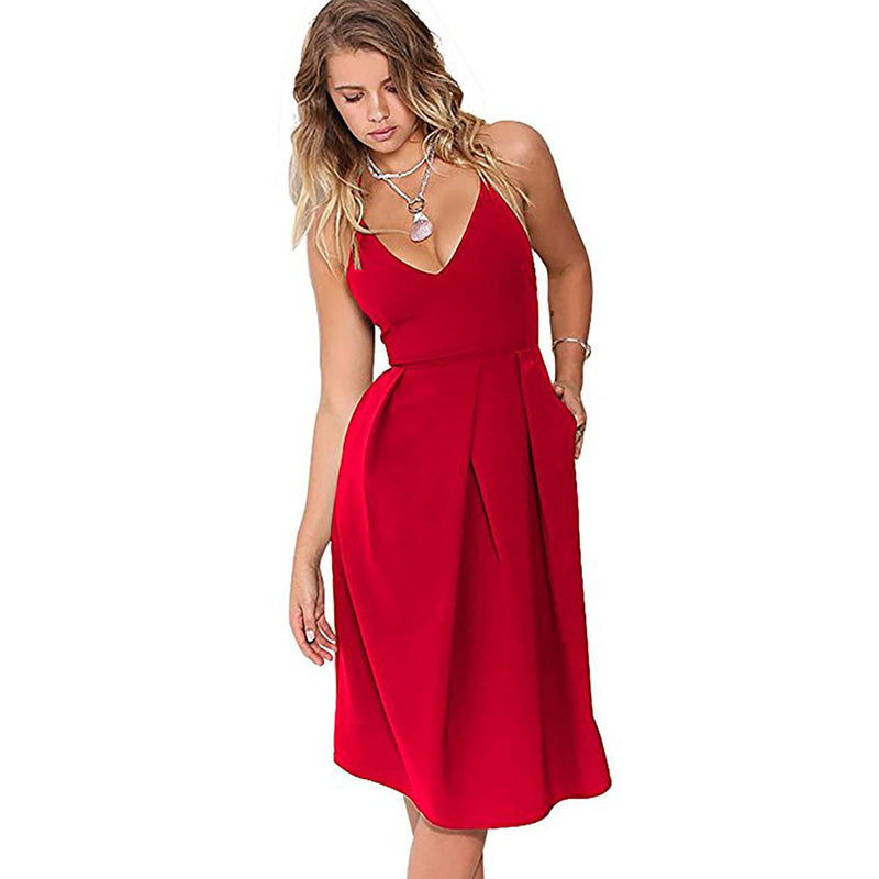 Sexy Pure Color Spaghetti Strap Cross Back A-Line Dress