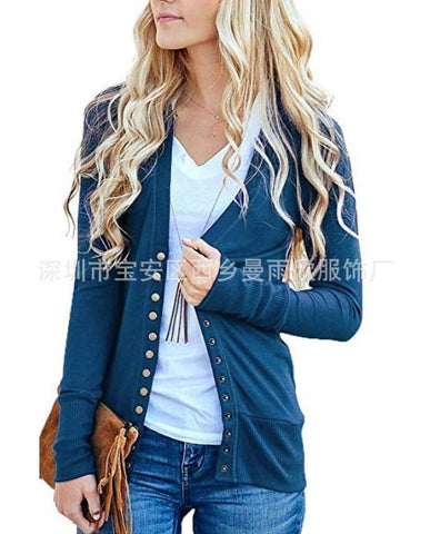 Solid Color Buttons Decoration Short Slim Outwear
