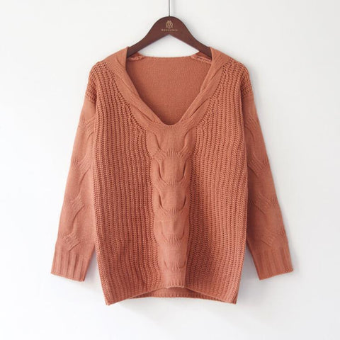 Pure Color Long Sleeves Large V-neck Cabel Sweater