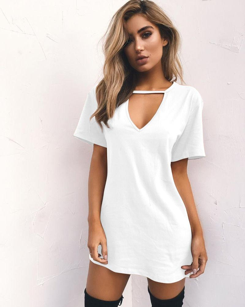 Solid Color Cut Out V-neck Loose Short Dress