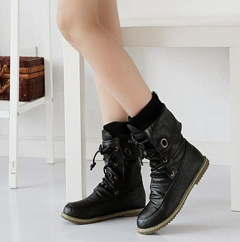 Warm Roman Motorcycle Round Toe Plat Lace Up Short Boots