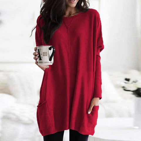Pure Color Scoop Long T-shirt
