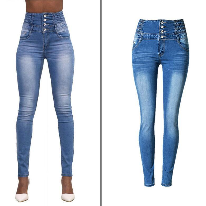 High Waist Elastic Buttons Denim Blue Slim Pants