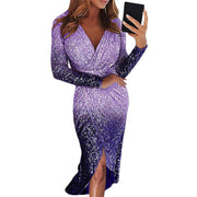 Sparkle Gradient Color Midi Warp Dress