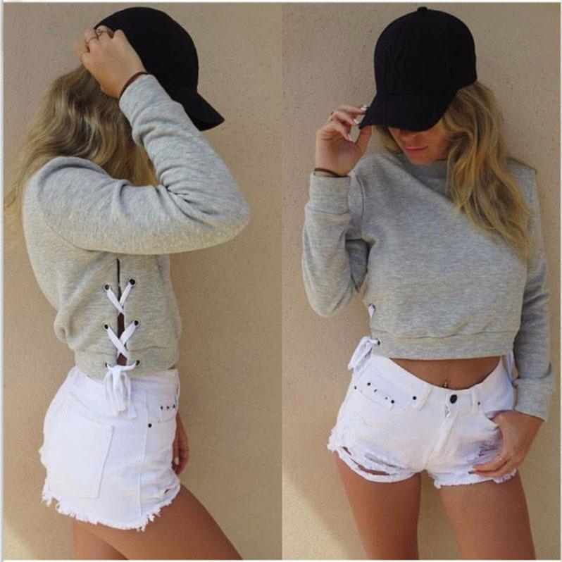 Side Straps Lace Up Solid Color Crop Top Sweatshirt