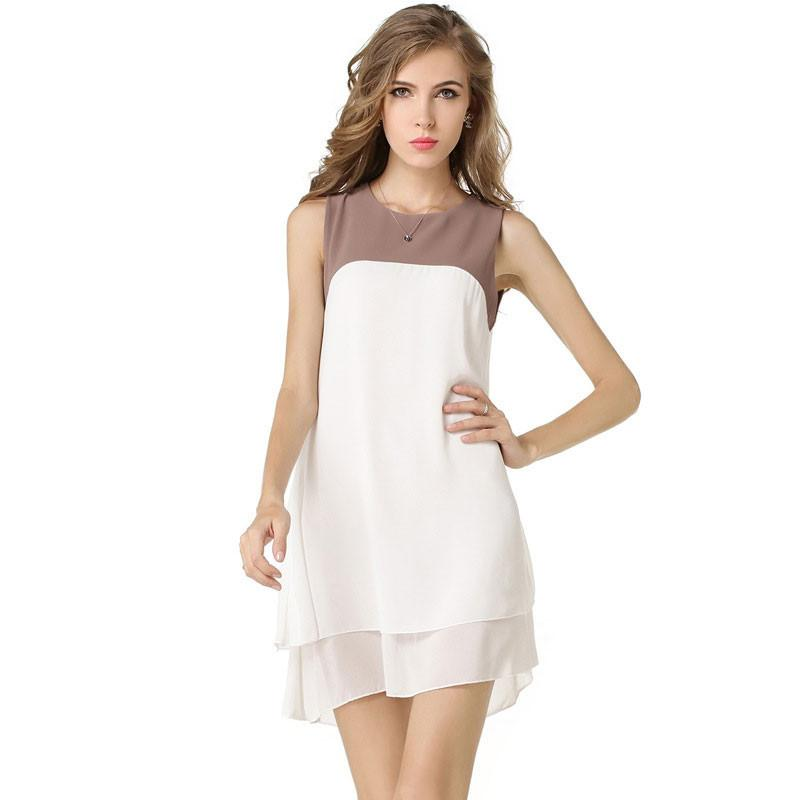 Patchwork Sleeveless Double Layers Chiffon Short Dress
