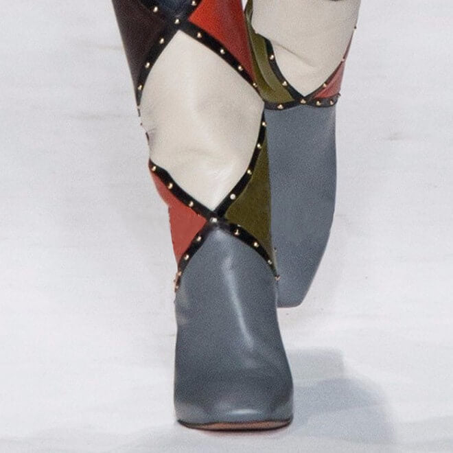 Fashion Gray Leather Color Block High Heel Knee High Boots