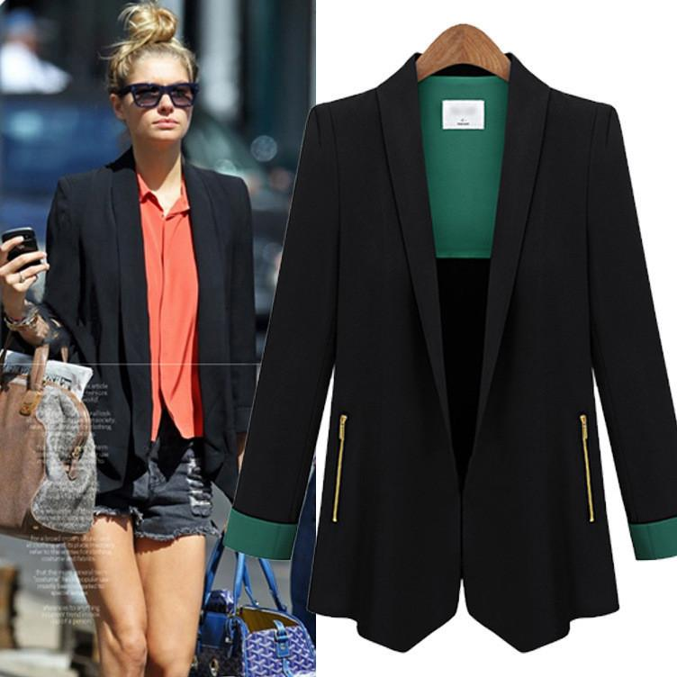 Turn-down Patchwork Zipper OL Fashion Short Slim Blazer