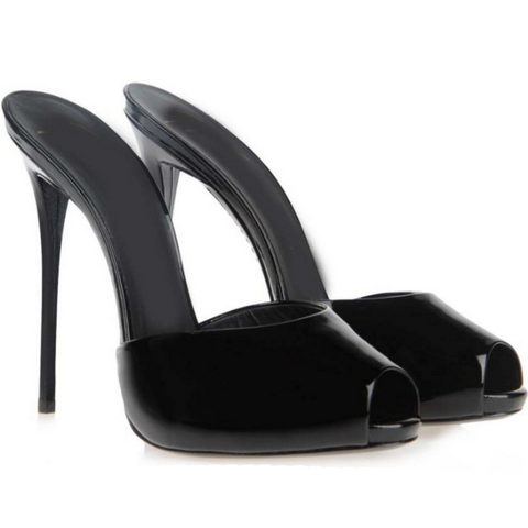 Summer Black Leather Peep Toe High Heel Sandals