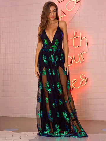 Sexy Sleeveless Embroidery Mesh See Through Long Dress