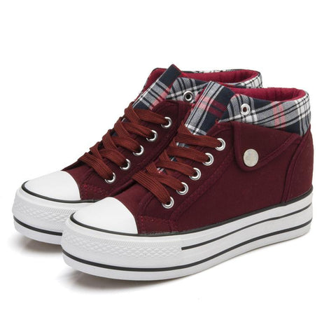 Fashion Increased Canvas Lace Up Plaid Sneakers