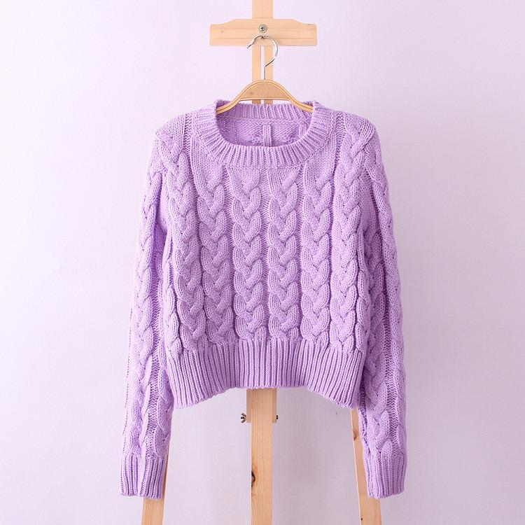 Scoop Solid Cable Ribbed Knit Short Sweater