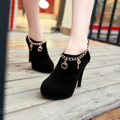 Charmed Suede High Heel Booties Shoes - MeetYoursFashion - 3