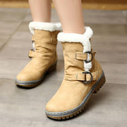 Winter Leather Buckle Low Chunky Heel Boots