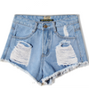 Frayed Rolled Hem Rough Edges High Waist Shorts - Bags in Cart - 4