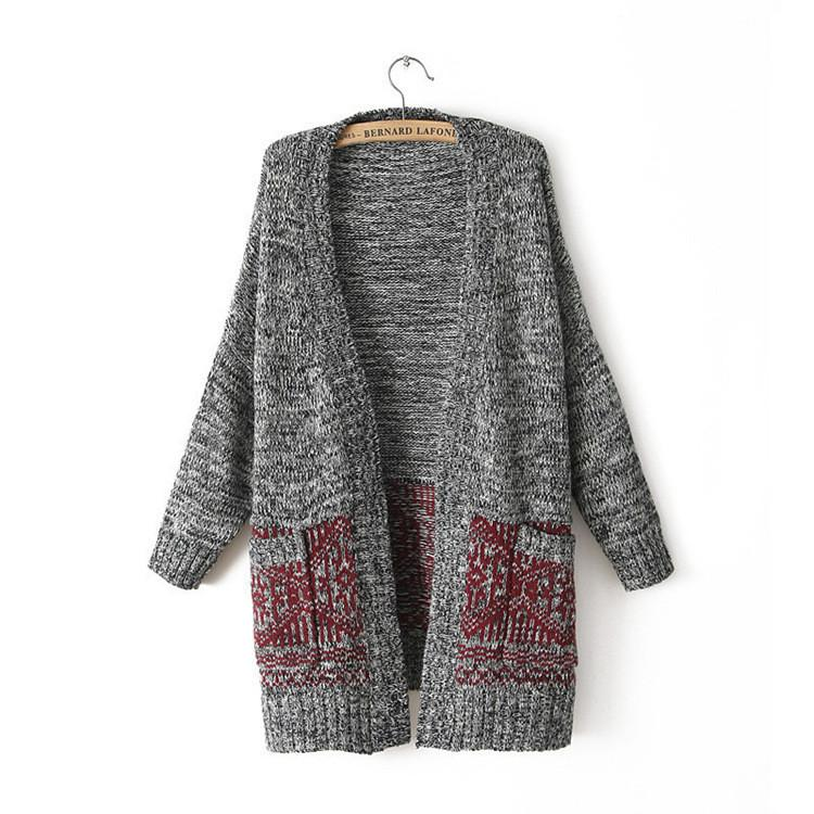 Cardigan Knit V-neck Long Loose 3/4 Sleeves Sweater - Bags in Cart - 3