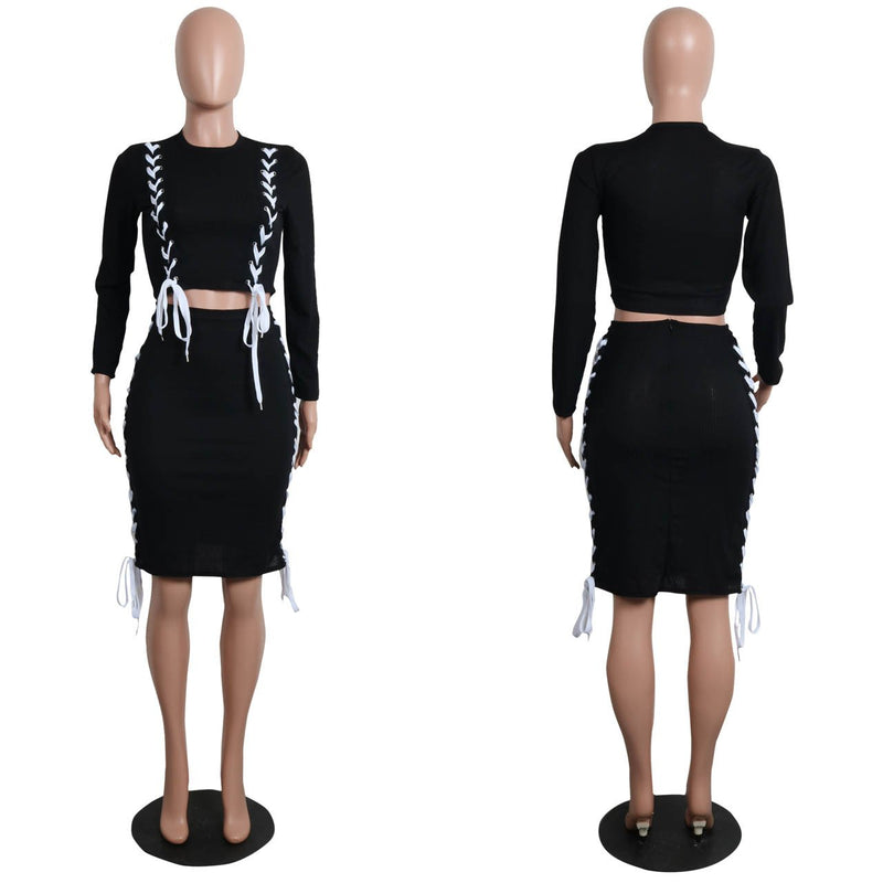 Scoop Long Sleeves Crop Top Bodycon Knee-length Skirt Dress Set