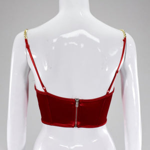 Metal Chain Satin Sling Open Navel Bra Vest