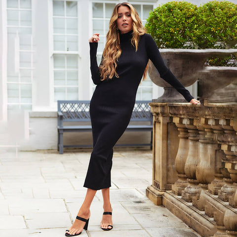 Long Sleeve Bodycon Turtleneck Sweater Midi Dress