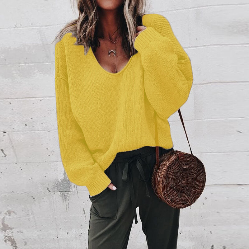 V-neck Bright Color Pullover Sweater