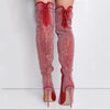 Fashion Red Rhinestone Strap Pointed Toe Knee High Boots