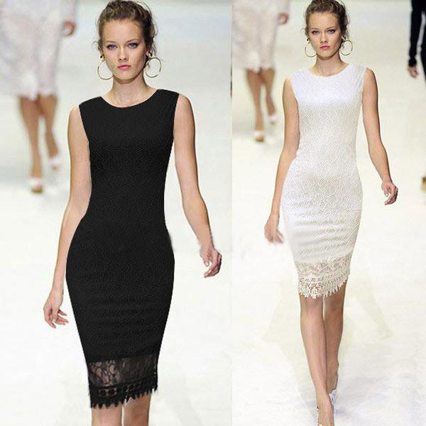 Slim Lace O-neck Sleeveless Knee-length Dress - Meet Yours Fashion - 3