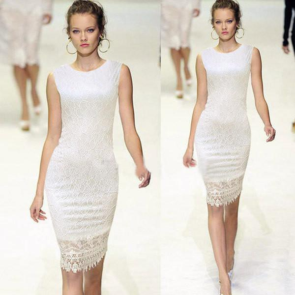 Slim Lace O-neck Sleeveless Knee-length Dress - Meet Yours Fashion - 2