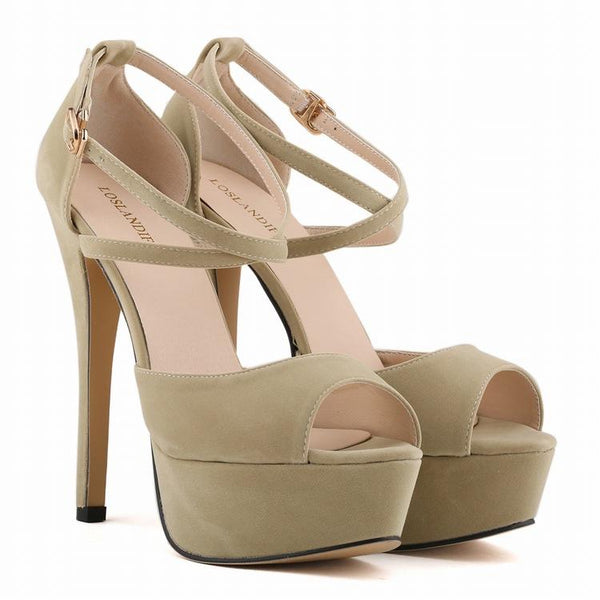 Sexy Suede Peep-Toe Cross Strap Sandals
