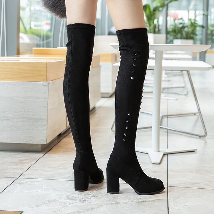 Black Over Knee Chunky High Heel Suede Boot