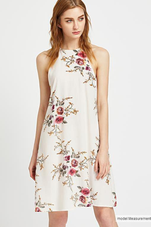 Floral Print Spaghetti Straps Sleeveless Short Dress