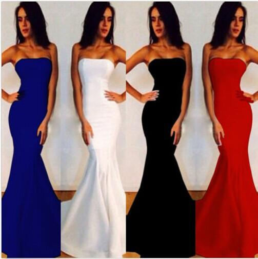 Floor-length Strapless Pure Color Mermaid Party Dress - Meet Yours Fashion - 1
