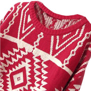 Women Loose Geometry Printed Pullover Sweater - Bags in Cart - 9