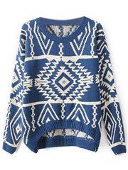 Women Loose Geometry Printed Pullover Sweater - Bags in Cart - 5