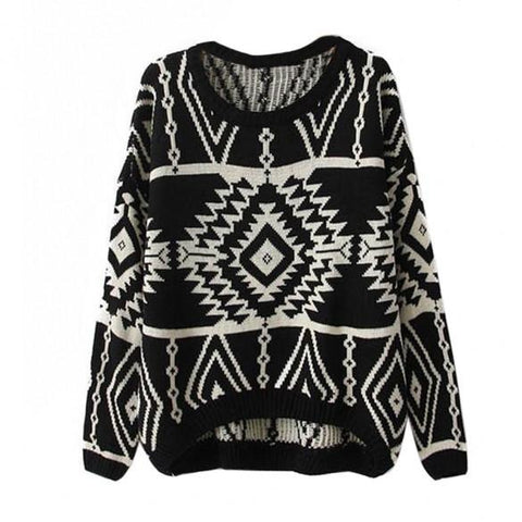 Women Loose Geometry Printed Pullover Sweater - Bags in Cart - 7