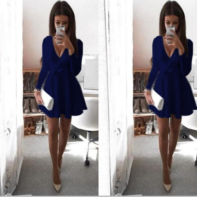 Candy Color Deep V-neck Long Sleeves Bowknot Short Pleated Dress