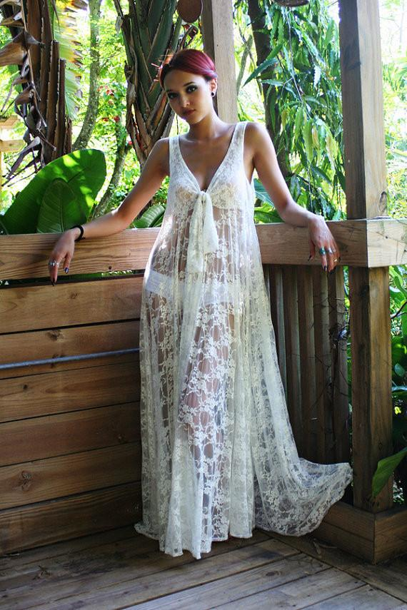 Transparent V-neck Lace Long Dress Bikini Cover UP - Shoes-Party - 2