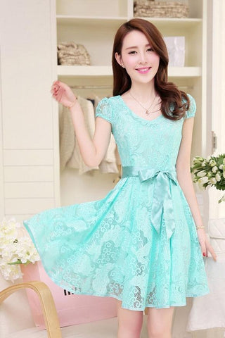 Short Sleeves Straps Belt Pure Color Short Dress