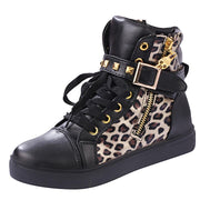 Street Lace Up Rivet Skull Leopard Print Sports Sneakers - MeetYoursFashion - 4