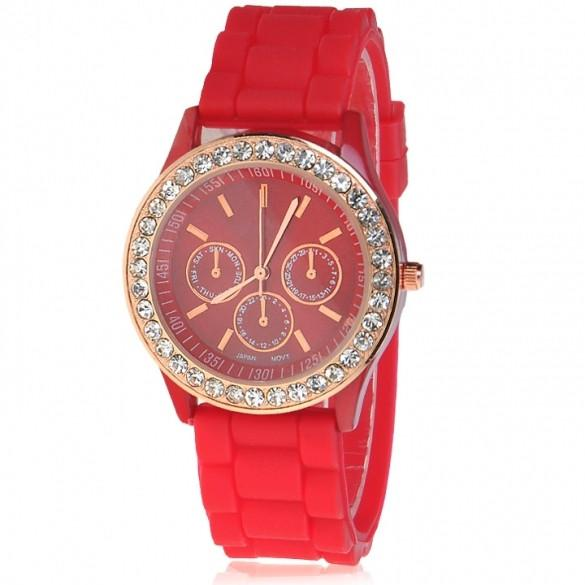 Silicone Golden Crystal Stone Quartz Girl Jelly Colorful Wrist Watch