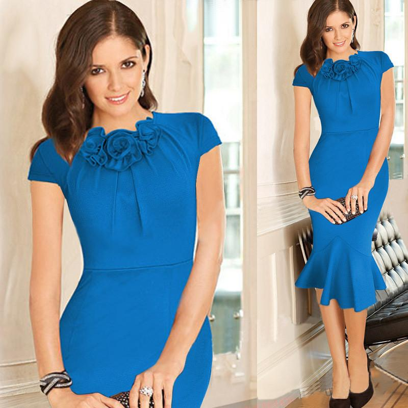 Scoop Short Sleeves Knee-length Mermaid Pure Color Dress