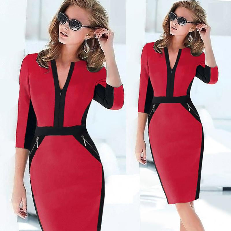 V-neck 3/4 Sleeves Contrast Color Pencil Zipper Slim Knee-length Dress