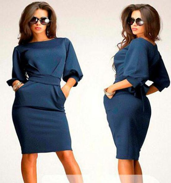 Unique Puff 3/4 Sleeves Bodycon Knee-length Casual Dress - MeetYoursFashion - 5