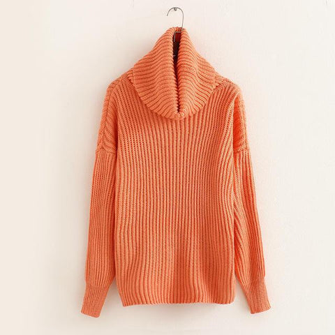 Lapel Pullover Loose High Collar Solid Sweater - Bags in Cart - 10