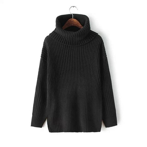 Lapel Pullover Loose High Collar Solid Sweater - Bags in Cart - 5