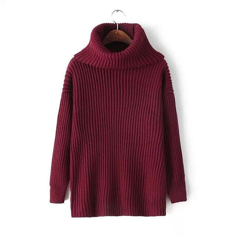 Lapel Pullover Loose High Collar Solid Sweater - Bags in Cart - 6