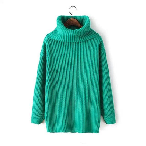Lapel Pullover Loose High Collar Solid Sweater - Bags in Cart - 12