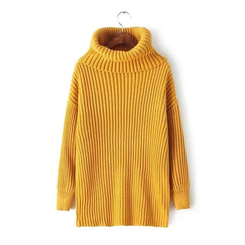 Lapel Pullover Loose High Collar Solid Sweater - Bags in Cart - 13