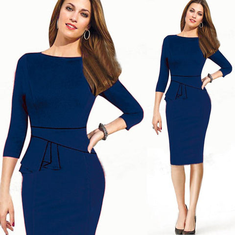 Scoop 7/10 Sleeve Bodycon Solid Mid-Calf Dress
