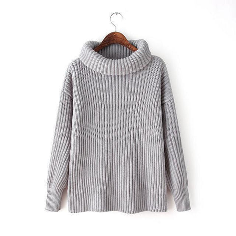 Lapel Pullover Loose High Collar Solid Sweater - Bags in Cart - 8
