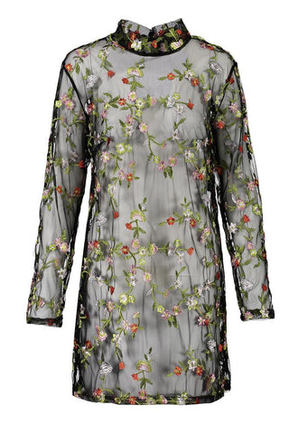 Flower Embroidery High Neck Long Sleeves Short Dress